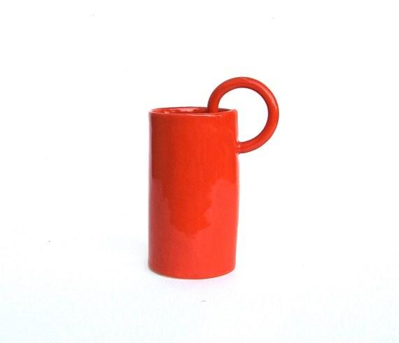 whimsical hand built  porcelain cup
