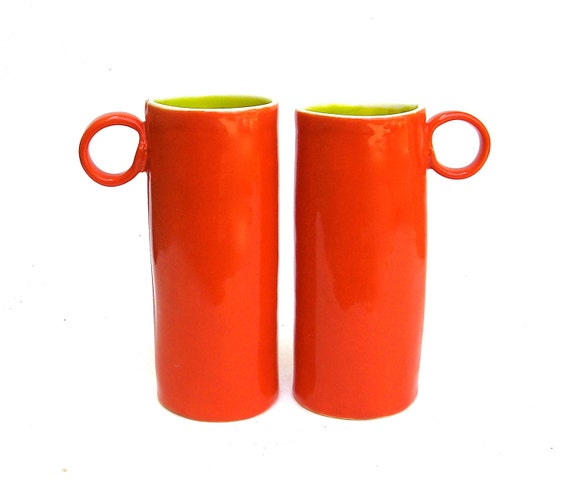 tea for two   ...  hand built whimsical coral and chartreuse cups