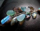 GEMSTONE Cascade NECKLACE with Labradorite in Grays & Aqua Blues - The ATLANTIS -