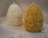 Beeswax Candle Carved Faberge Easter Egg Shaped Candle White or Natural