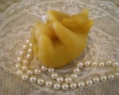 Hand Scupted Pure Beeswax Bear on Back Candle White or Natural