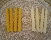 Pure Beeswax Tiny Twist Taper Candles Set of 4 White or Natural