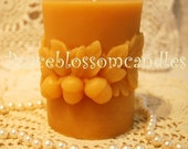 Beeswax Candle Oak Leaf Nature Themed Pillar