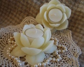 Pure White Beeswax Lotus Flower Candle Holder with 2 Tealights Infinitely Reuseable