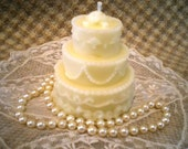 Beeswax Candle Birthday or Wedding Cake Shaped Candle in WHITE