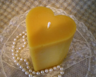 Hand Sculpted Pure Beeswax Heart Shaped Pillar Candle Natural Color