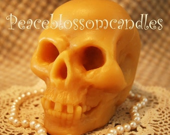 Beeswax Candle Smooth Skull Shaped Burns Like a Pillar