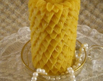 Beeswax Candle Sun Flower Sunflower Pillar Candle Natural Gold Color