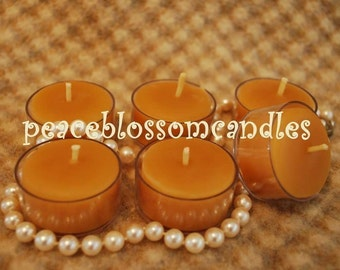 Pure Beeswax Tealights Tea Light Candles set/6 with Clear Holders.