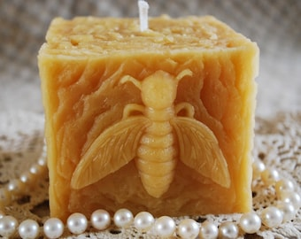 Beeswax Candle Rustic Square Bee Pillar in Pure Beeswax
