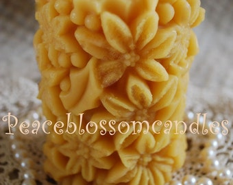 Beeswax Candle Poinsettia Covered Pillar Natural Gold Color