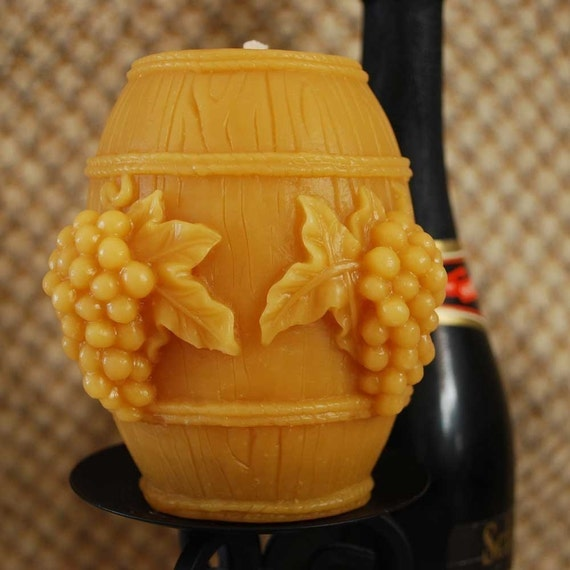 Beeswax Candle Wine Barrel Cask Shaped Candle Decorated with Grape Bunches