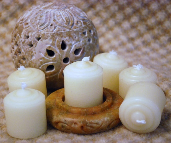 Beeswax Candles Small Votives in White Set of 12