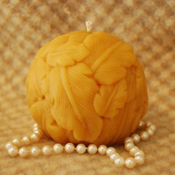 Beeswax Candle Spherical Primitive Carved Leaf Ball Candle