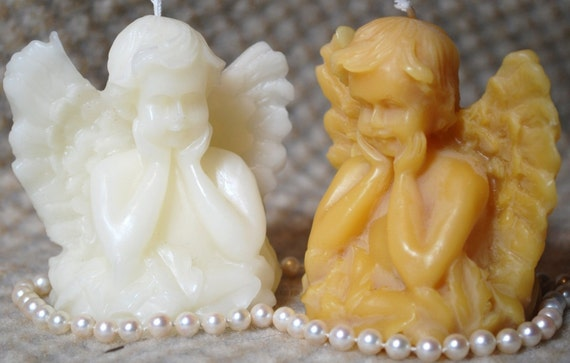Beeswax Candle Angel Cupid Seraphim Candle White or Natural Color