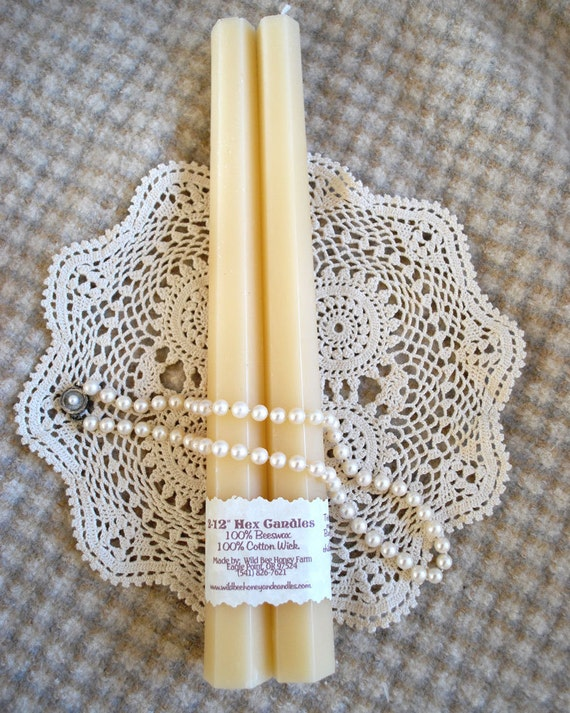 White Beeswax Tapers 12 inches tall Hexagon Shaped Base Set of 2