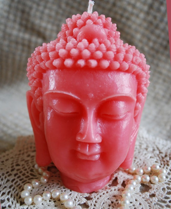 Beeswax Candle BIG Buddha Head Sadhana Meditation Contemplation Altar Candle in PINK