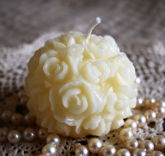 Beeswax Candle Hand Sculpted Rose Ball Sphere Candle in WHITE Beeswax