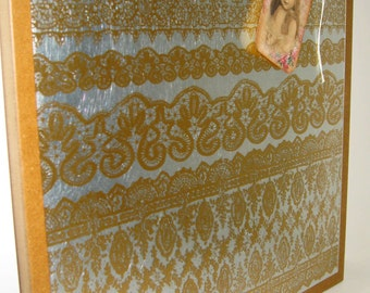 Golden Lace..Magnet Dry Erase Steel Memo Board / Housewarming Gift / Office Decor / Organization / Wall Decor / Desk Accessories / Magnets