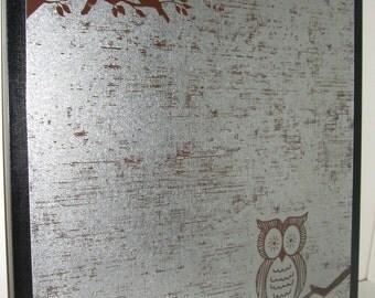 Wise Brown Owl ..Magnet Dry Erase Steel Memo Board / housewarming / desk /office organizer / home decor /magnet / friend gift / organization