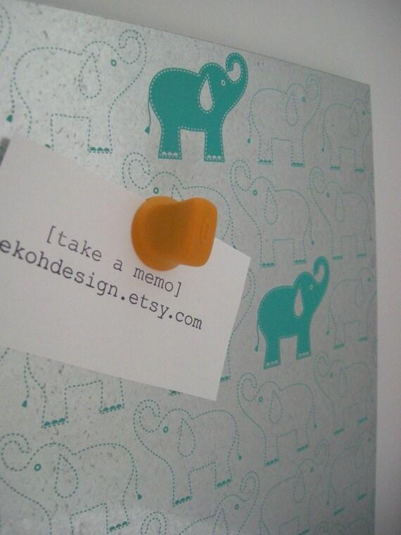 Mod Elephants in Teal Steel Memo/Dry Erase Board