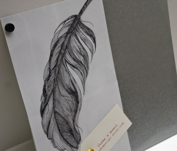 RESERVED .. SUSAN .. Feather Ink Drawing .. Steel Memo/Magnet/Dry Erase Board