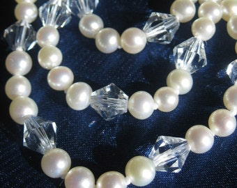 SALE RARE Akoya Sea Pearl Necklace, Long Strand Cultured Pearls and Crystals,Traditional Pearls,Wedding Jewelry,Pearl Layering Necklace,9066