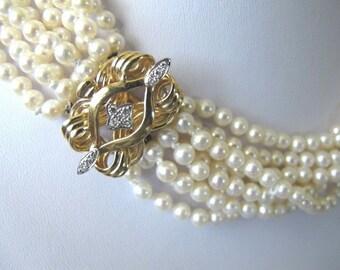 Sea Pearl Choker, White Pearl Necklace, Elegant Diamond Clasp, Multi Strand Pearl Necklace, Bridal Necklace, Statement Pearl Necklace,9215R