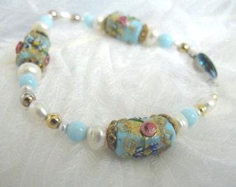 SALE Beautiful Rare Pearl Vintage  Venetian Glass Bracelet,Italian Glass Jewelry, Vintage Art Glass, Wedding Jewelry, Handmade Jewelry B9213