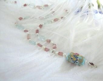 SALE Rare Vintage Art Glass Aquamarine Necklace, Pink Tourmaline Necklace, Italian Art Glass, Vintage Venetian Glass, Designer Jewelry,9211