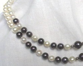 SALE White and Black Pearl Choker Necklace, Akoya Sea Pearl Necklace, Classic Timeless Cultured Pearl Necklace, Pearl Wedding Jewelry 9264