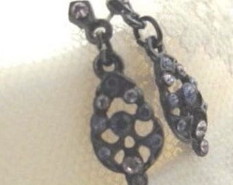 SALE Vintage Victorian Style Earrings, Lavender Rhinestone Dangle Earrings, Small Feminine Drop Earrings, Everyday Post Purple Earrings 9261