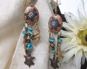 SALE Artistic Turquoise Dangle Earrings,Southwestern Earrings,Unique Copper Turquoise Earrings,Statement Earrings, Hand Painted Earrings,289
