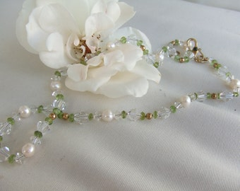 SALE,High Luster White Pearl Necklace, Peridot Stone and Sea Pearl and Crystal Necklace,Pearl Fashion Layering Designer Pearl Necklace,9121