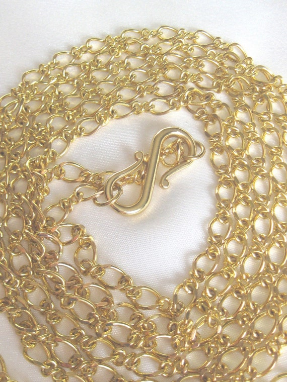 Sale Long Golden Links Chain Necklace,Yellow Gold Fashion Layering Necklace,Extra long 63 IN Chain,1920s Retro Style,Multi Strand Wrap Chain
