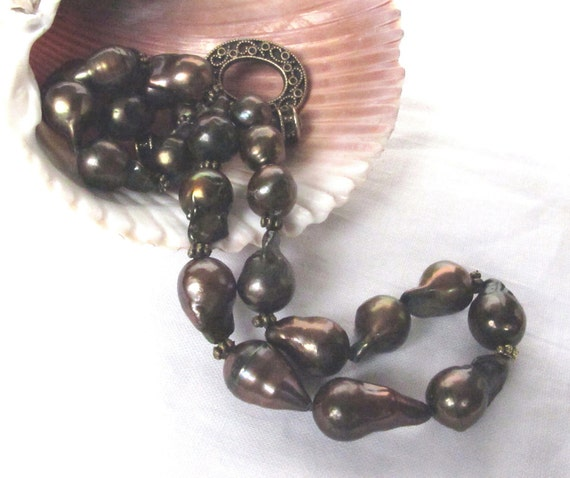 SALE Large Chocolate Brown Akoya Sea Baroque Pearl Necklace,Bold Cultured Pearl Necklace,RARE Exotic Pearl Necklace,Pearl Fashion Jewelry,82
