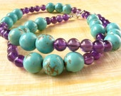 Amethyst and Turquoise Necklace : amethyst turquoise gemstone beaded necklace