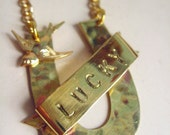 SALE Lucky Horseshoe necklace. Good luck necklace. Good luck jewelry. Gold plated chain. Reclaimed metal. Handmade.