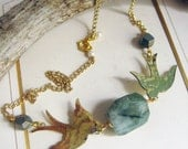 Tattoo style Swallow necklace with green stone.  Nautical, handmade jewelry, reclaimed metal, Huge chunky stone.