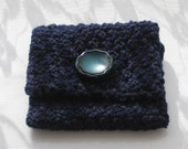 Blue Knitted Pouch / Coin Purse