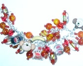 Sock Monkey Love  Altered Art Charm Bracelet in Red