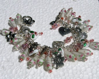 Pink and White Hearts and Flowers Lampwork Bead Charm Bracelet