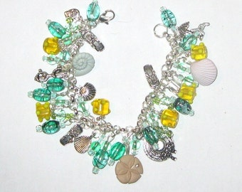 Summer Fun Charm Bracelet in greens and yellow SALE