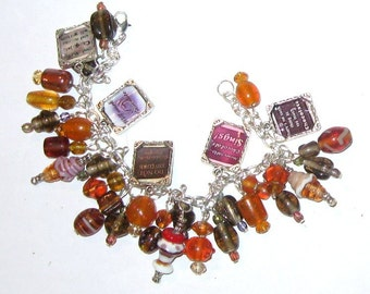 Chocolate  Altered Art Charm Bracelet in Rust and Brown SALE