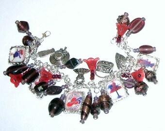 Red Hat Diva  Altered Art Charm Bracelet SALE