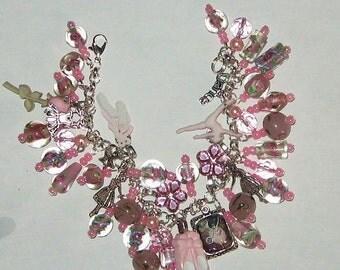 Pink Ballet  Ballerina Altered Art Charm Bracelet SALE