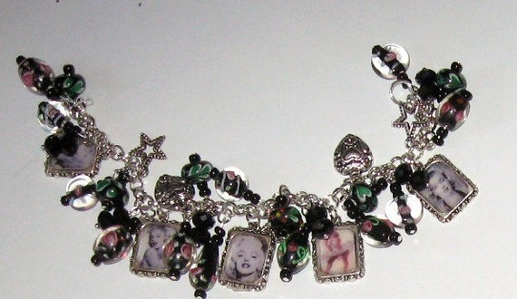 Marilyn Monroe Altered Art Beaded Charm Bracelet in Black