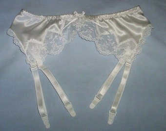 White silk satin and lace garter belt in UK sizes 8 - 20