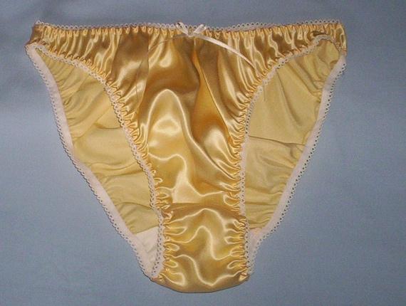 Pastel yellow silk satin panties in UK sizes 8 - 20