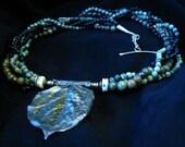 Rose Leaf Pendant Beaded Necklace